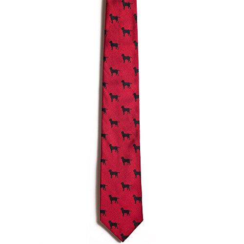 Background Black Necktie (Chipp 2 Black Labrador Retriever Silk Necktie with Deep Red Background)
