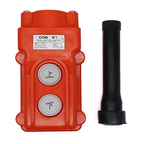 Yootop Rainproof Hoist Crane Pendant Controller 2 Ways Single Pole Pushbutton Switch Up-Down Station Momentary Contact Type
