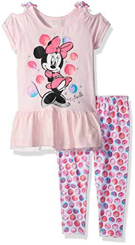 Disney Little Girls' Minnie 2 Piece Legging Set, Cherry Blossom, 4 ()