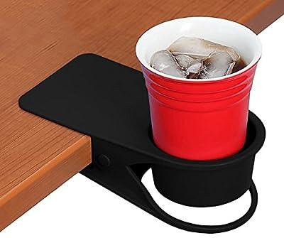 YOY 2 Pcs Drink Cup Holder Clip - Home Office Table Desk Side Huge Clip Water Drink Beverage Soda Coffee Mug Holder Cup Saucer Clip Design
