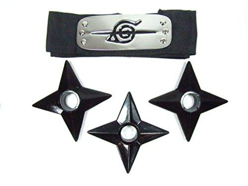 Oliadesign Naruto Anti Leaf Village Akatsuki Uchiha Itachi Headband with 3 Throwing Stars, Black, One Size