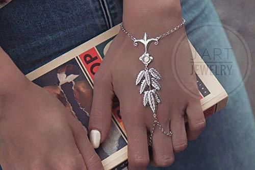 Sterling silver slave bracelet,hand chain,boho style bracelet,unique slave bracelet,bracelet with ring,statement bracelet,vintage ()
