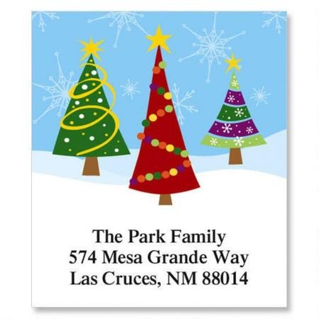 Family Christmas Labels - Family Trees Christmas Square Return Address Labels - Set of 144 1-1/8