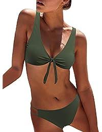 f1464974b5 Women s Sexy Detachable Padded Cutout Push Up Striped Bikini Set Two Piece  Swimsuit
