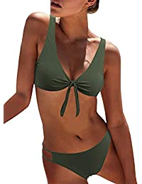 dce5b84915 Women s Sexy Detachable Padded Cutout Push Up Striped Bikini Set Two Piece  Swimsuit