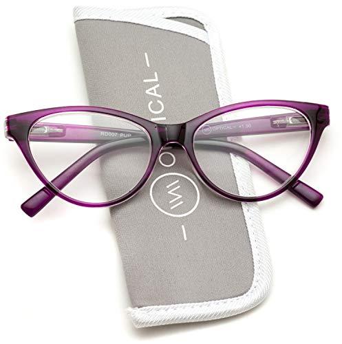 Vintage Cat Eye Frame Readers (Purple Clear Frame, 3.0) -