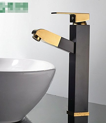 Mangeoo Faucet All Copper High End Black gold Plate Basin Tap, Four Sides Pull Face Washbasin Faucet.