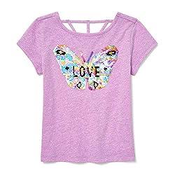 Girls Big Short Sleeve Flip Sequin T-Shirt