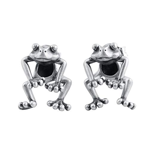 GAGAFEEL 925 Sterling Silver Frog Earring Vintage Stud Dangle Post Earrings Cute Animal Lucky Frog for Women Girl Birthday Anniversary Valentines with Jewelry Gift Box