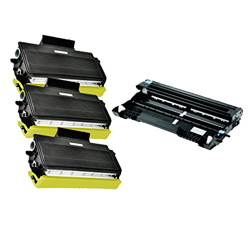 (4-Pack Compatible with Brother 3x TN650 + DR620 Black Toner and Drum Cartridges for use with Brother MFC 8480DN 8680DN 8890DW HL 5340D 5370DW 5370DWT DCP 8080DN 8085DN Printer)