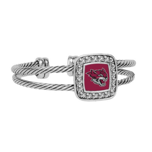 CollegeFanGear Chico State Crystal Studded Cable Cuff Bracelet With Square Pendant 'Wildcat - Head Wildcat Bracelet