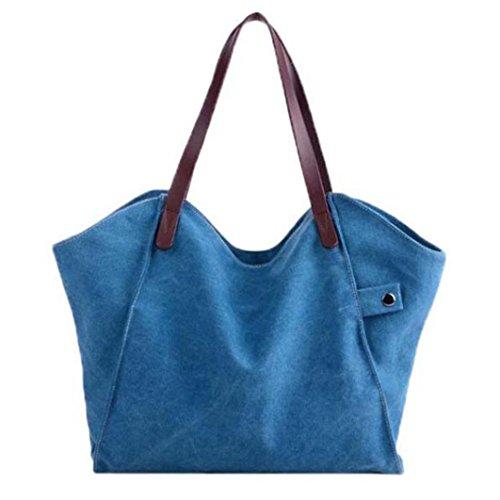 Blanc Bolsa Femme Bleu Esailq Sac blanc Bandoulière Hombro De 059 Lona 001 Txx1qf