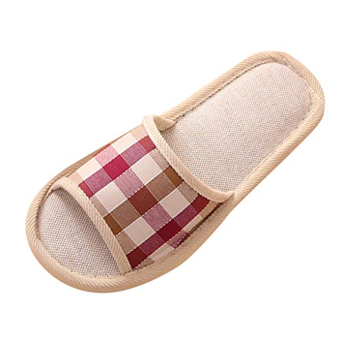 CCFAMILY Couples Fashion Shoes Women's Casual Indoor Floor Flat Slippers Girls Boys Gingham Home Slippers Red