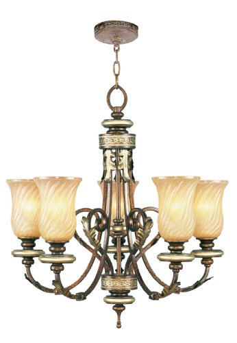 Livex Lighting 8835-64 Chandelier with Gold Dusted Sculpted Art Glass Shades, Palatial Bronze with Gilded Accents