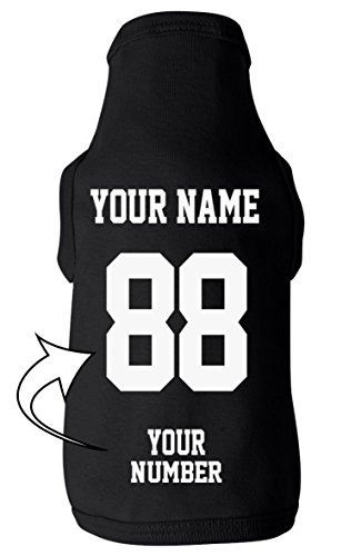 Custom Dog Jersey Shirts - ADD NAME & NUMBER Jerseys - Personalized Puppy Apparel & Outfits (Dog Customize Shirts)