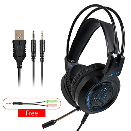 Hinrylife Gaming Headset, Headset with Surround Sound, LED Light & Noise Canceling Microphone,Soft Ear Pads, Volume Control. for PS4, Xbox One, Nintendo Switch, PC, PS3, Mac, Laptop