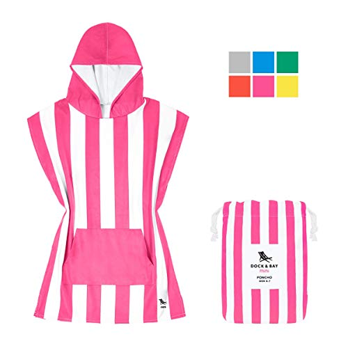 Dock & Bay Kids Poncho Microfibre Hooded Towel - Phi Phi Pink, Kids (4-7 Years) - Hooded Changing Robe Swim Poncho, Quick Dry & Compact