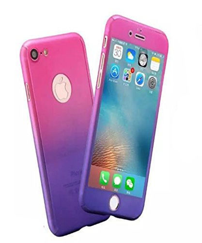 iPhone 8 Plus Full Body Hard Case,iPhone 7 Plus Slim Sleek Front Back Case,Auroralove 360 All Around Shockproof Cover with Tempered Glass Screen Protector for iPhone 8 Plus/7 Plus 5.5 (Pink Purple)
