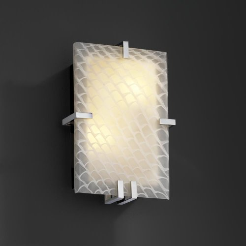 - Justice Design Group FSN-5551 - Clips Clips Rectangle Wall Sconce (ADA) - Polished Chrome with Weave Shade