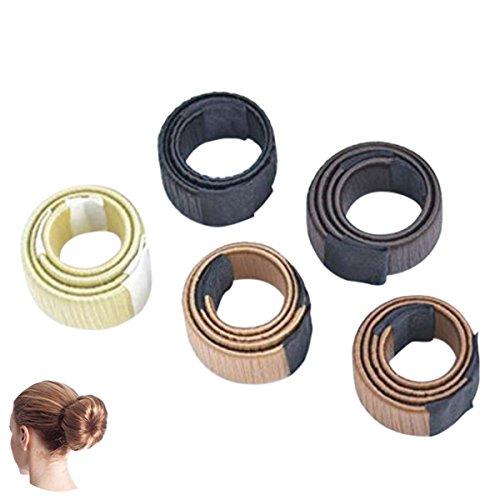 Frcolor - 6 rodillos para pelo para hacer moños, en forma de donut, para mujeres y chicas, para hacerse moños sin ayuda