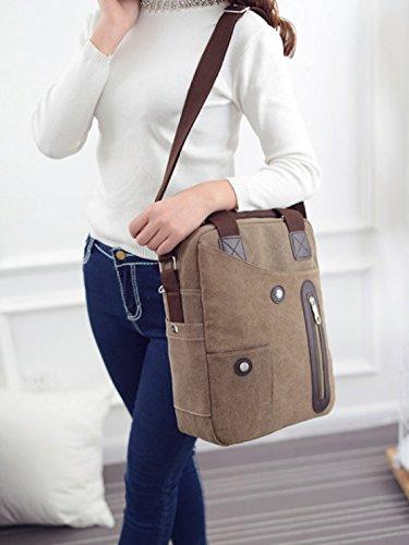 Männer Vintage-Leinwand Messenger Aktentasche Schulter Tote Seite Geschäft Tasche,Brown-OneSize