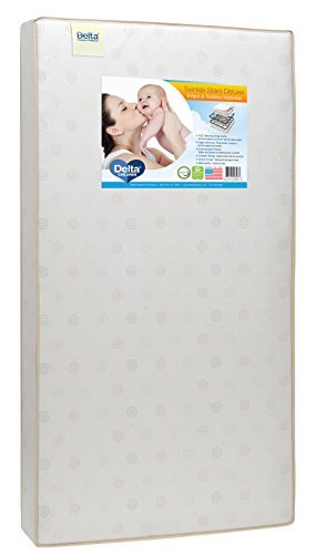 Delta Children Twinkle Stars Deluxe Innerspring Crib and Toddler Mattress | Waterproof | GREENGUARD Gold Certified (Natural/Non-Toxic)