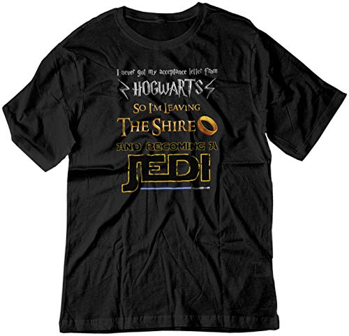 BSW Men's Harry Potter Lord of The Rings Star Wars Jedi Fan Shirt LRG Black (Hogwarts Shire Tshirt Jedi)