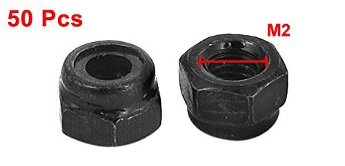 M2 Zinc-Plated Nylock Nylon Insert Black Hexagon Safety Nuts Pack of 50
