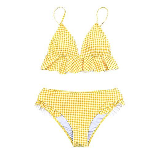 be-my-guest Yellow Gingham Ruffled Bikini Sets Women Sweet Two Pieces Swimsuits 2019 Girl Beach Bathing Suits Swimwear,Yellow,XL ()