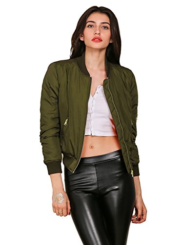 Simplee Apparel Women's Padded Zipper Biker Bomber Down Jacket Coat, Army Green, Asia XL, US 12 Womens Down Bomber Jacket
