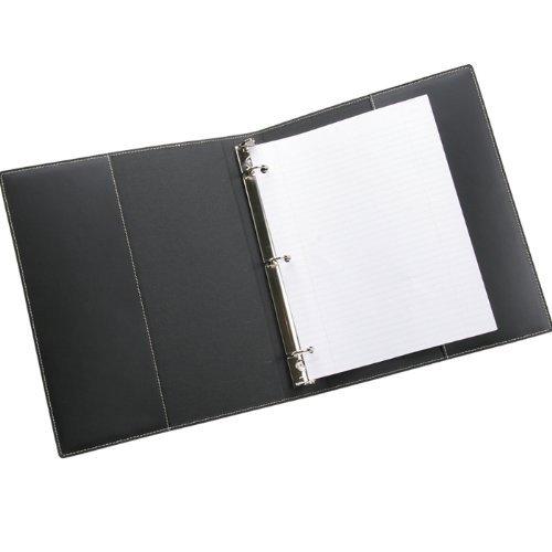 Leather 3 Ring Binder, 1'' Presentation Format, Black