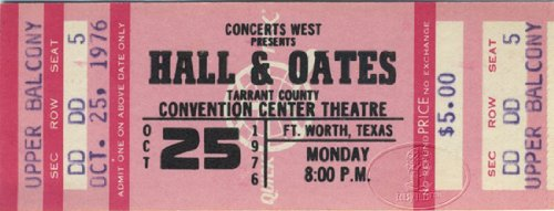HALL & OATES 1976 Unused Concert Ticket