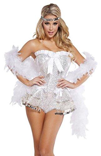 Great Gatsby Daisy Dress (Gatsby's Great Love Daisy Halloween Costume - White/Silver - Large)