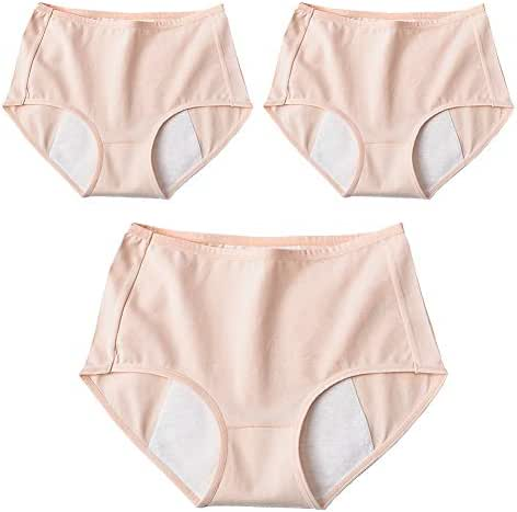 Total Leak Proof Protective Briefs 3 Pcs Physiological Pants Menstrual Women Panties Elastic Cotton Mid Waist Protective Knickers,XL