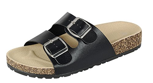 (Cambridge Select Women's Open Toe 2 Strap Buckle Slip-on Flat Slide Sandal,8.5 B(M) US,Black PU)