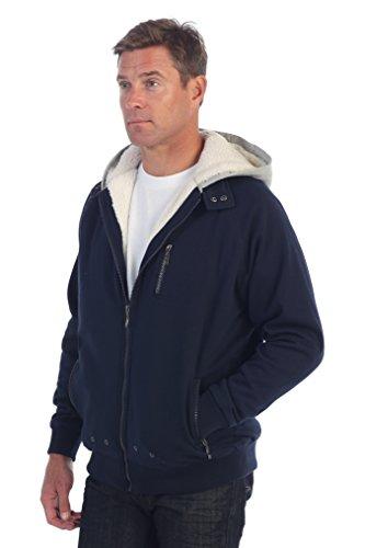 Fleece Lined Full Zip Jacket (Gioberti Mens Sherpa Lined Full Zip Fleece Contrast Hoodie Jacket, Navy,)