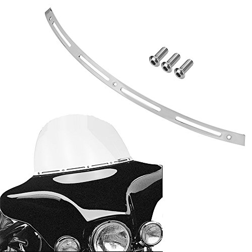 ECLEAR Windshield Trim Deep Slotted Cut Beveled Windscreen for 1996-2013 Harley Touring - Chrome