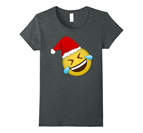 Ladies Holiday Laughing Crying Emoji T Shirt