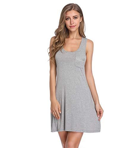 Lusofie Nightgowns for Women Sexy Sleeveless Tank Sleepdress Full Slip Nightie (700 Grey, M)