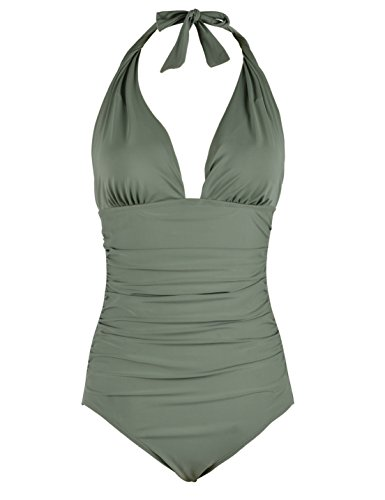 Firpearl Women's Retro 50s One Piece Swimsuit V Neck Halter Ruched Bathing Suit Green 8 (Green Halter Swimsuit)