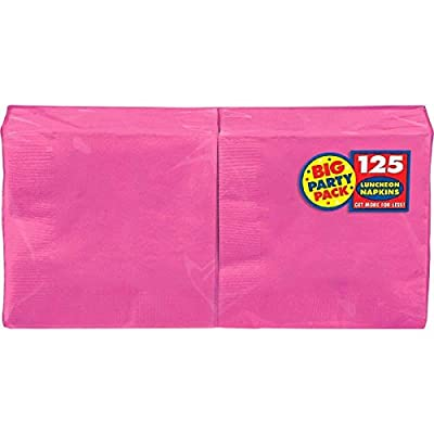 Bright Pink Luncheon Paper Napkin Big Party Pack, 125 Ct.: Kitchen & Dining