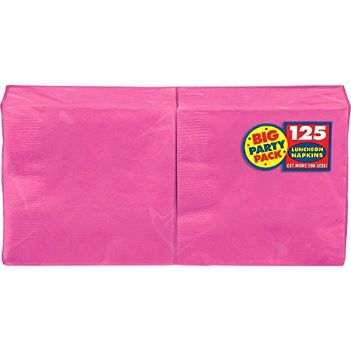 Bright Pink Luncheon Paper Napkin Big Party Pack, 125 Ct.