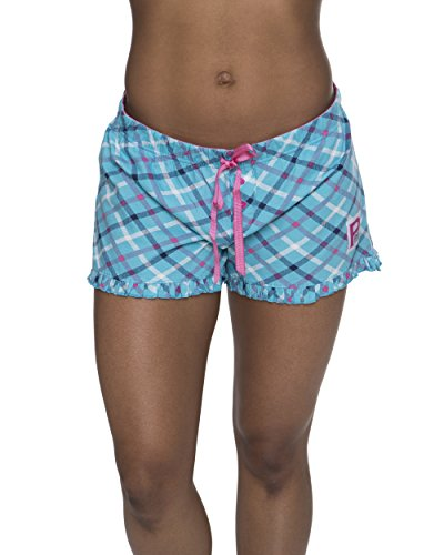 U.S. Polo Assn. Women's Plaid Ruffle Hem Elastic Waistband Pajama Sleep Shorts Turquoise Large