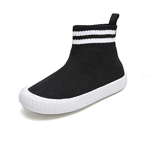 Child Girls Athletic Running Sneakers Boys Breathable Walking Slip on Sock Shoes Black,Little Kid 1 M - Sneaker Socks Boys