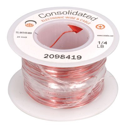 Jameco Valuepro 24MAG Magnet Wire, Plain Enamel with Nylon Insulated, 24 AWG, 205' Size