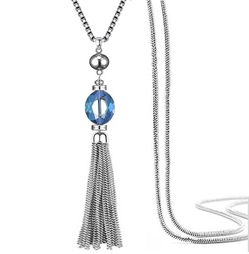 Perfect 4U Crystal CZ Station Y shape Necklace Chain Sweater Chain and Tassel Long Neck Bar for Women (Station Necklace Heart Shaped)