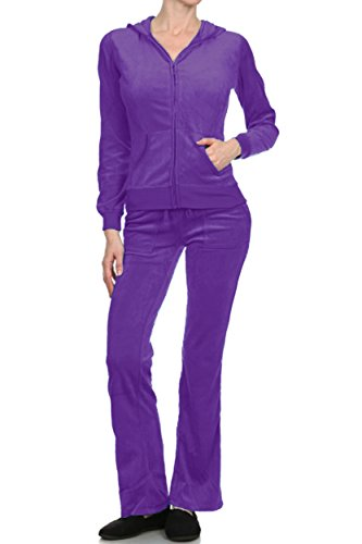 ViiViiKay Women's Cutout Sport Suit Tracksuit Hoodie Sweater and Sweat Pants Set 001_Purple (Purple Womens Tracksuit)