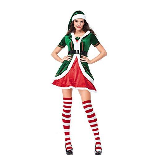 CHoppyWAVE Christmas Elf Costume Men Women Couple Elf Costume Christmas Party Clothes Role Play Carnival Props Women XL]()
