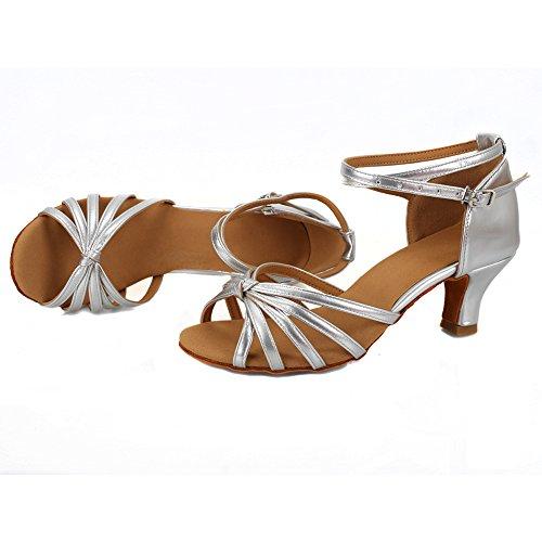 Lazo zapatos Para Latino 5cm Vashcame tacón Plata Mujer Baile Alto medio De Tacón TRawUqa