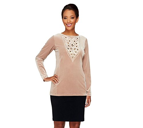 Bob Mackie Opulent Knit Sequined Jeweled Semi-Fitted Top Platinum S # A259821